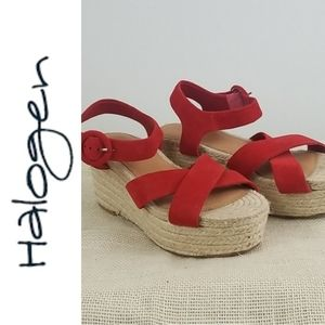 Halogen Platform Leather Suede Espadrille Sandals